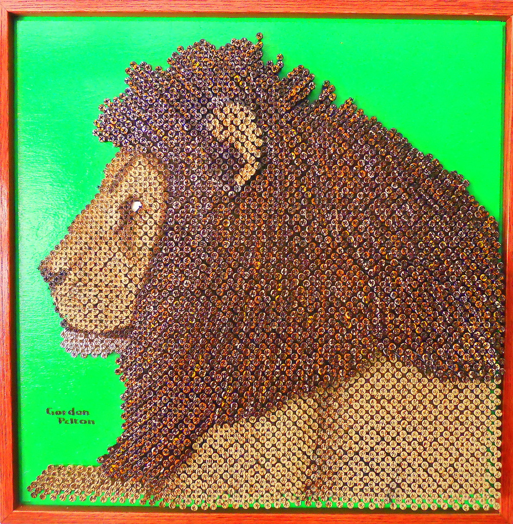 """African Lion"" in Bas Relief 25.5 x 25.5  Screws in Plywood, Framed  $2990 PLACE ORDER"