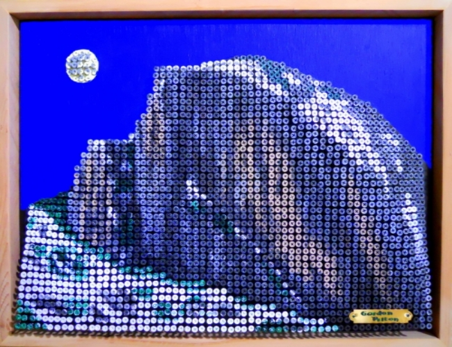 """Half Dome - Yosemite"" in Bas Relief                                                                           26 x 20  Screws in Plywood, Framed  $2500                                                                            PLACE ORDER"