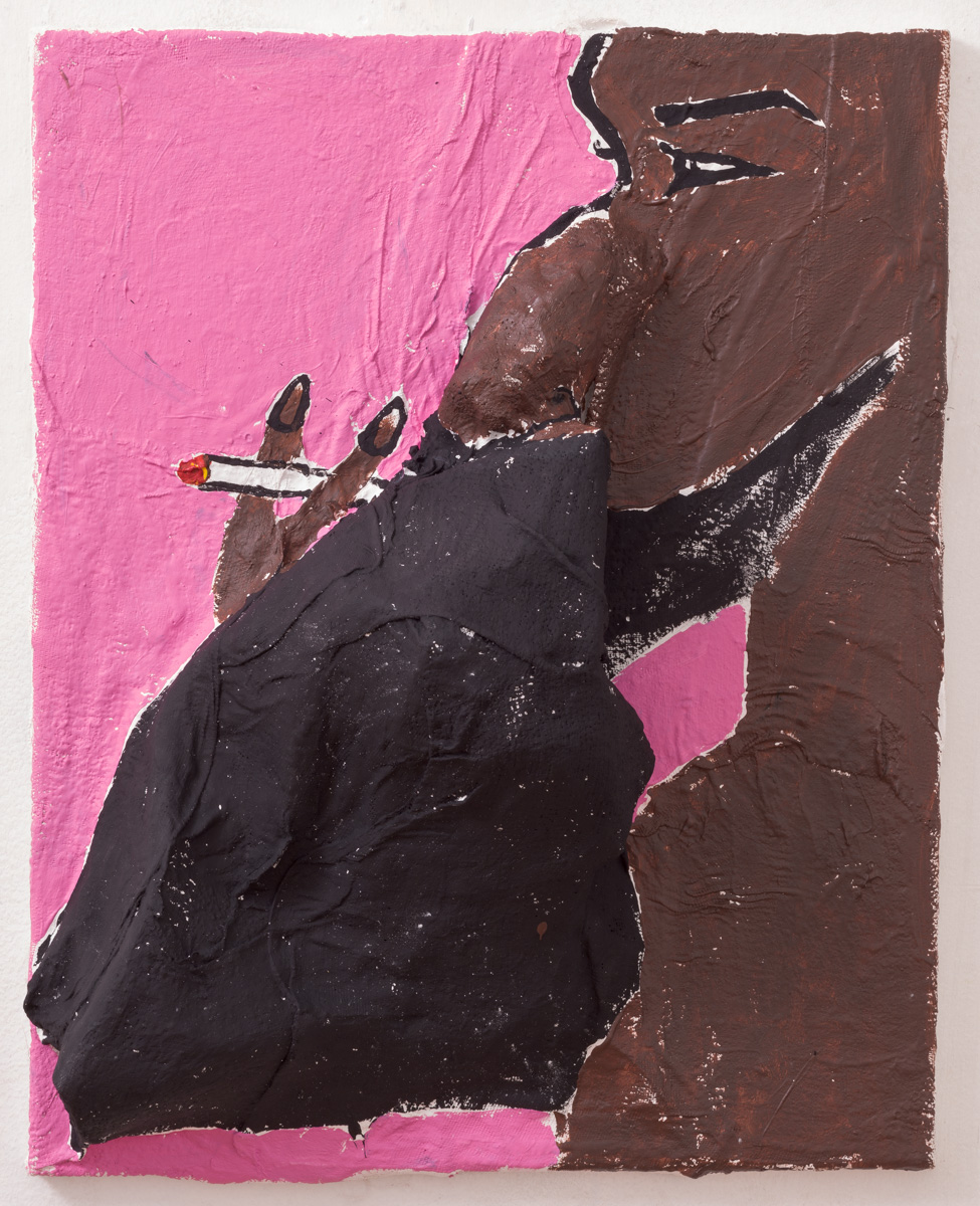 "Aaron Smoking, plaster, recycled paper, and acrylic on canvas, 20 x 16"", 2015"