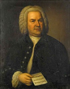 Elias Gottlob Haussmann portrait of J.S. Bach holding his puzzle canon for 6 voices