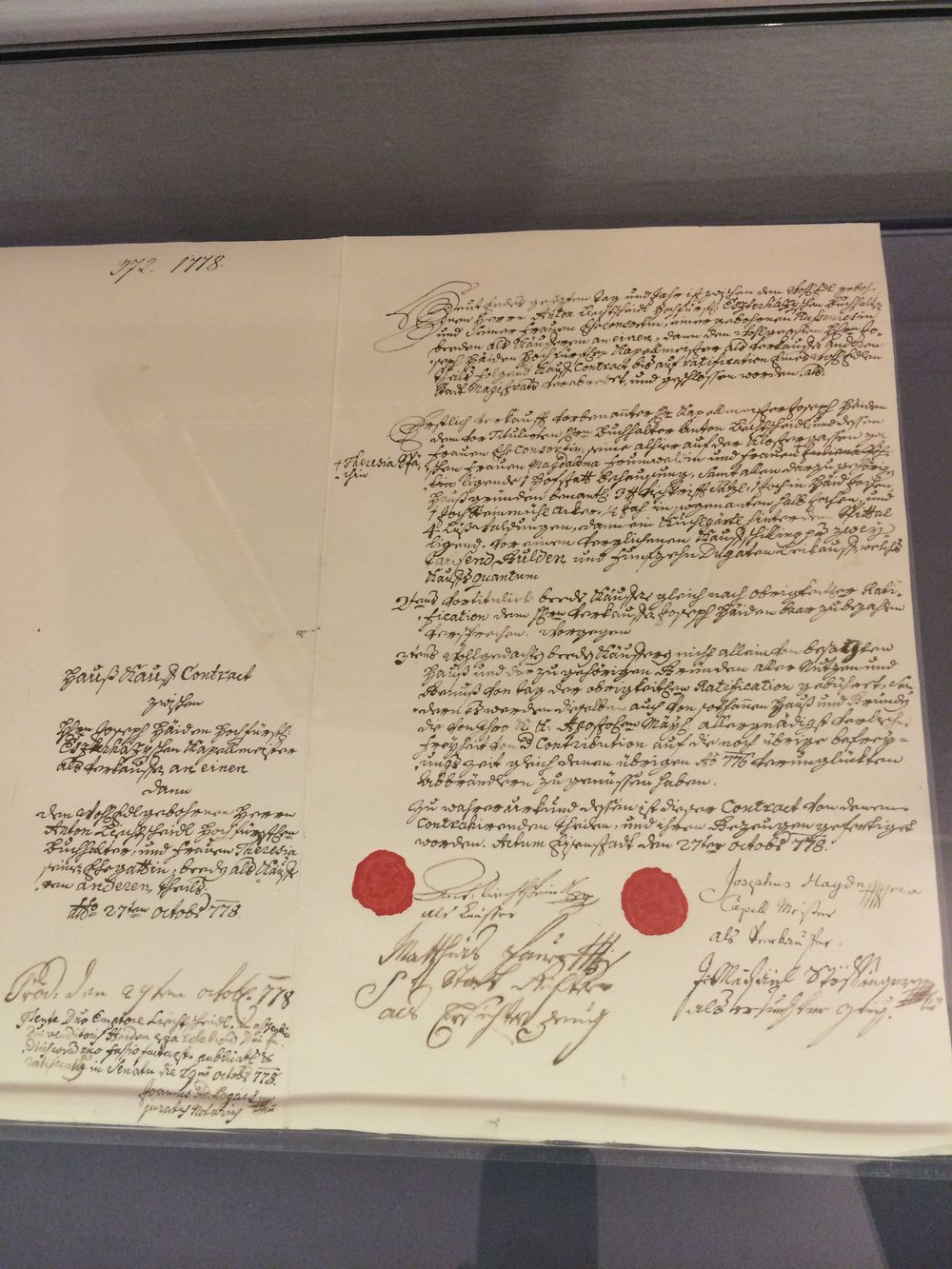Haydn's signature (on the right) on the Deed of Trust for his home near Esterhazy Castle