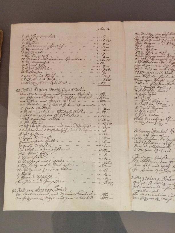 Listing of Haydn's possessions destroyed from a house fire—a velvet robe, dishes, framed pictures, etc.