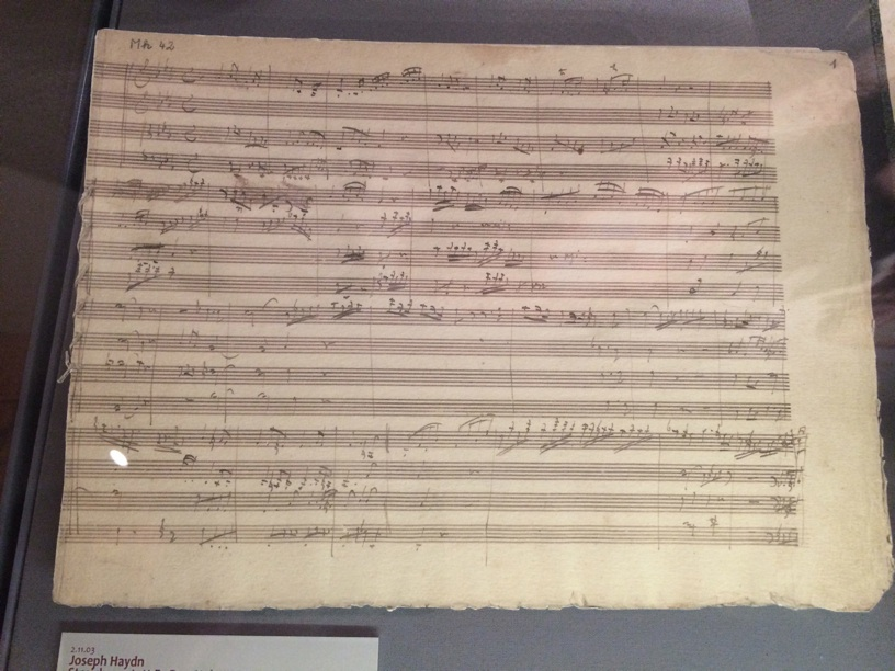 Here was a discovery—Beethoven copying out Haydn's op. 20 #1 string quartet that was composed in this very house! Not Beethoven's far more wild manuscript.
