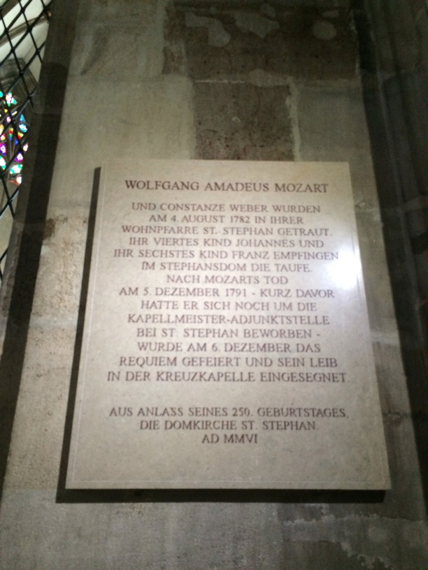 Mozart Plaque in St. Stephen's Cathedral—he and Constanze were married here, his memorial with the Requiem was performed here.
