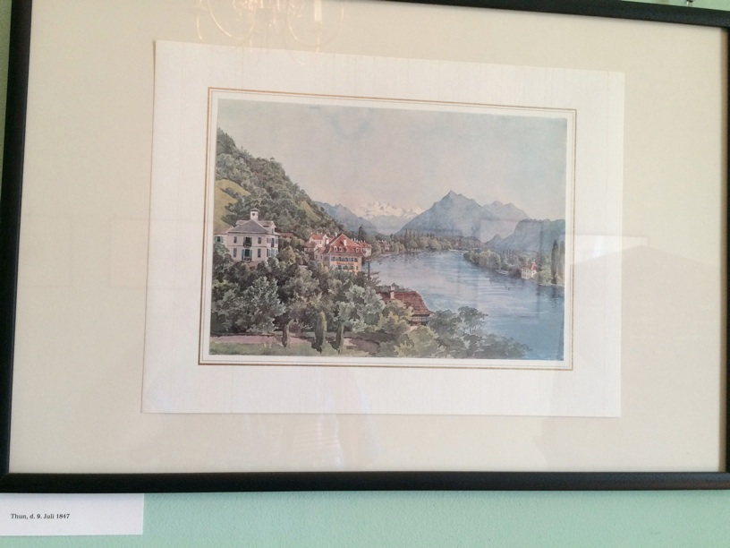 Mendelssohn exquisite watercolor of Thun, Switzerland
