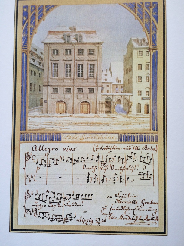 Imagine receiving this incredible original artwork and  manuscript postcard of the Gewandhaus in the mail from your friend Felix Mendelssohn!