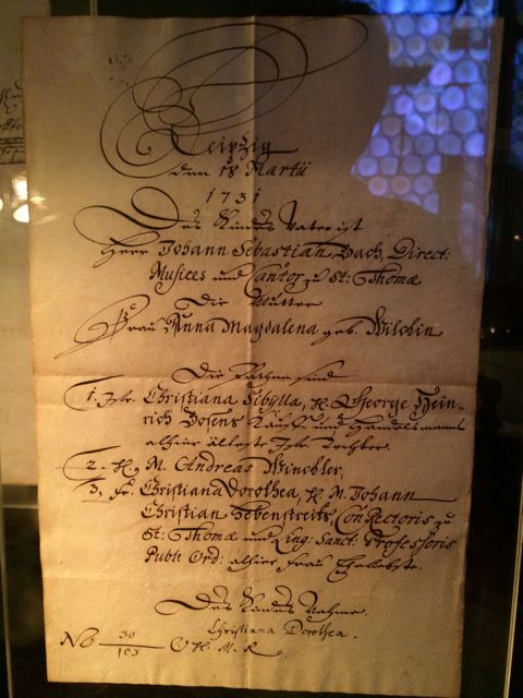 Baptismal certificate for Bach and Anna Magdalena's daughter Christiana Sibylla, who only survived one year