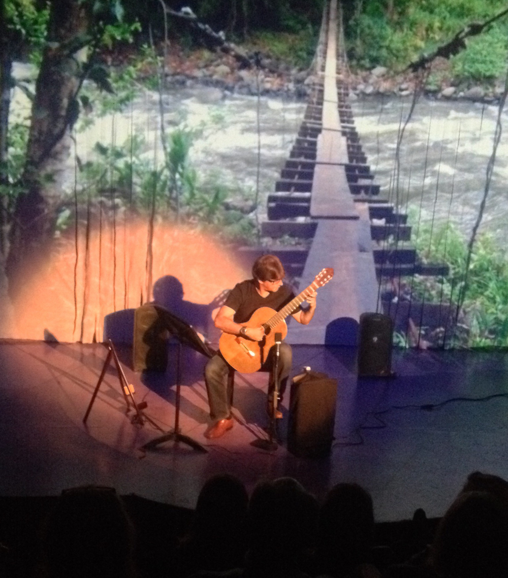 "Blue Pool Concert, playing and discussing hidden resonances:""Swinging Bridges"" with slideshow accompaniment , Santa Monica Playhouse June 23, 2016"
