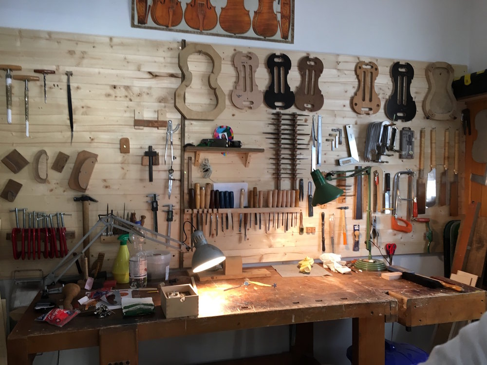 Here was his actual workshop—so small, so beautiful. Imagine spending fifty years at this table constructing string instruments! This discipline, dedication, and artistry made a huge impression on the students.