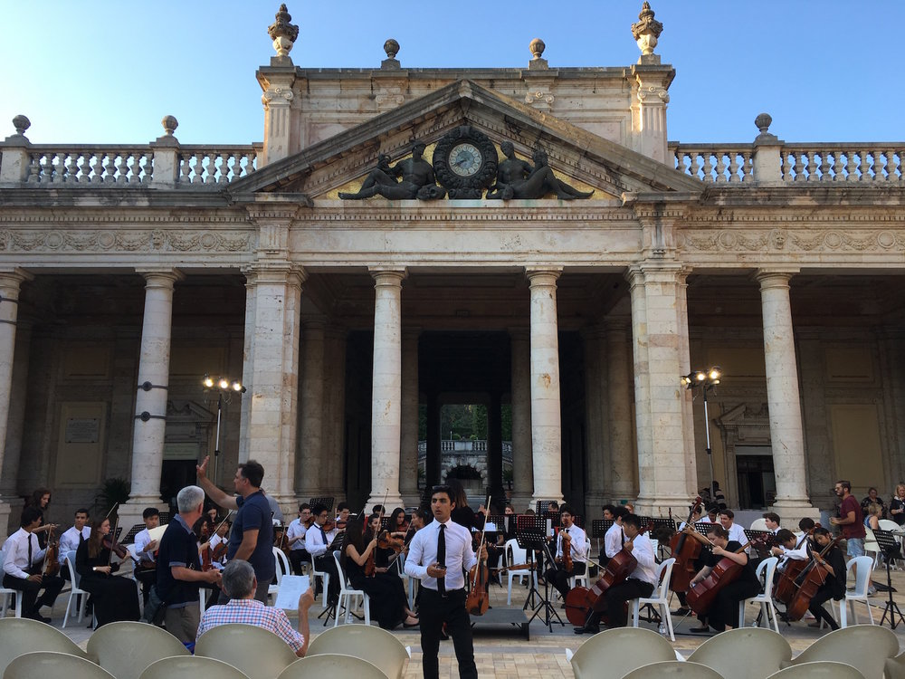 This was the beautiful outdoor venue in Montecatini. The acoustics are excellent because the floor, walls, and columns are all polished marble. This concert went late into the evening with a cheering full audience.