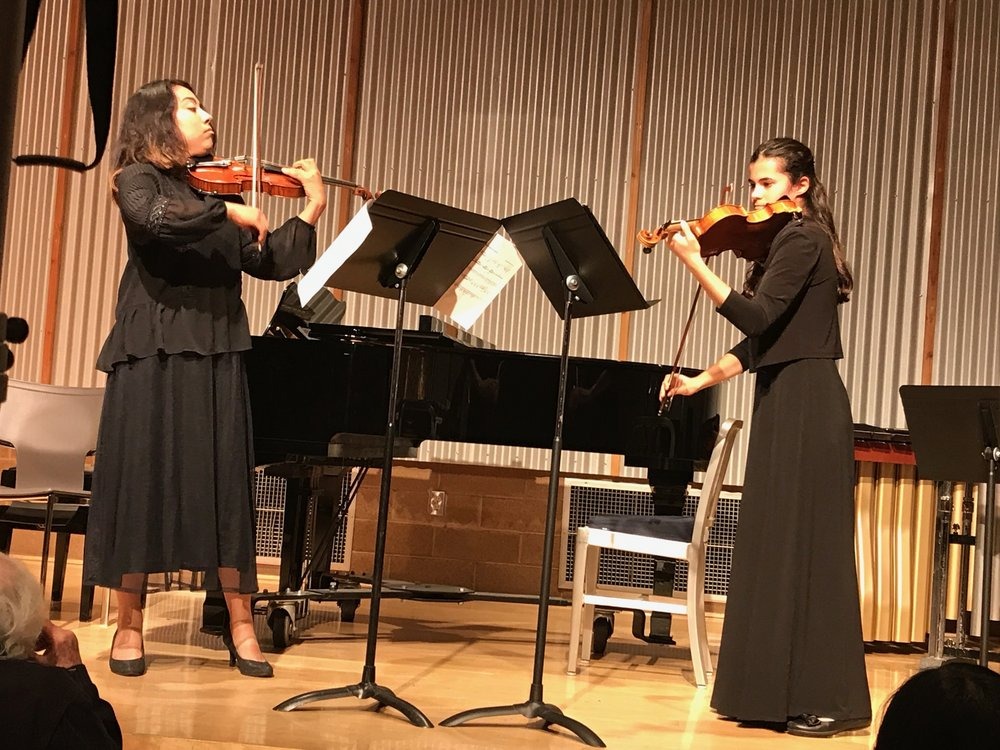 LA Youth Orchestra violinists Alisa Luera and Clara Ross opened the concert with a performance of my Violin Duos that wowed the crowd. Alisa is a freshman studying violin performance at CSUN and Clara attends Harvard-Westlake high school with strong interest in astrophysics and music.