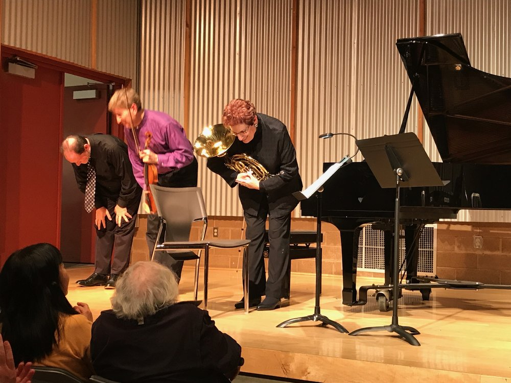 Sierra Ensemble take a bow after performing my Horn Trio, the centerpiece of the program. From left to right, pianist Marc Steiner, violinist Randall Weiss, French horn player extraordinaire Janis Lieberman.