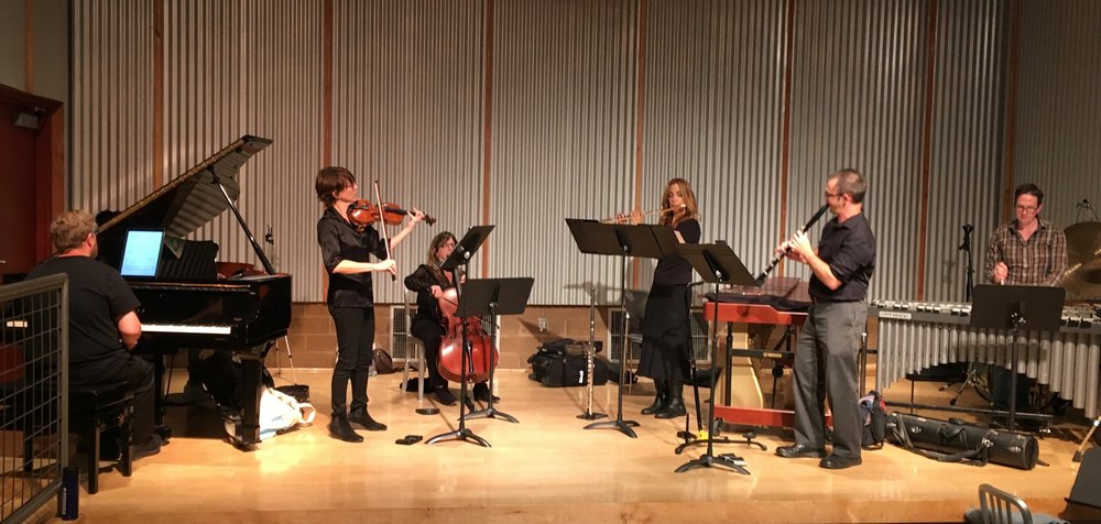 In the 2nd half, Brightwork Newmusic gave virtuoso, expressive performances of William Kraft's Kaleidoscope and my Subterranean Dance. From Left to Right, pianist Aron Kallay, violinist Sarah Thornblade, cellist Maggie Parkins, flutist Sara Andon, clarinetist Brian Walsh, percussionist Nick Terry