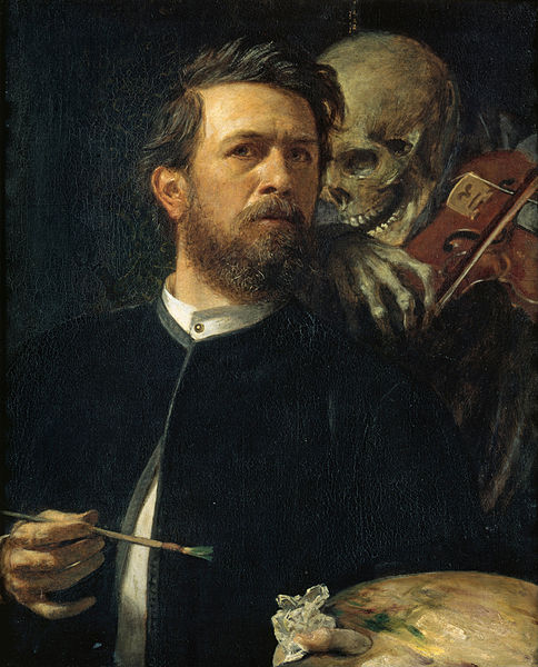 "Arnold Boecklin ""Self-Portrait with Death Playing the Fiddle"""