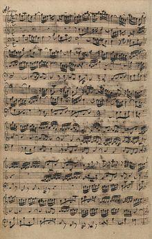 manuscript page of Bach's Organ Sonata No. 5