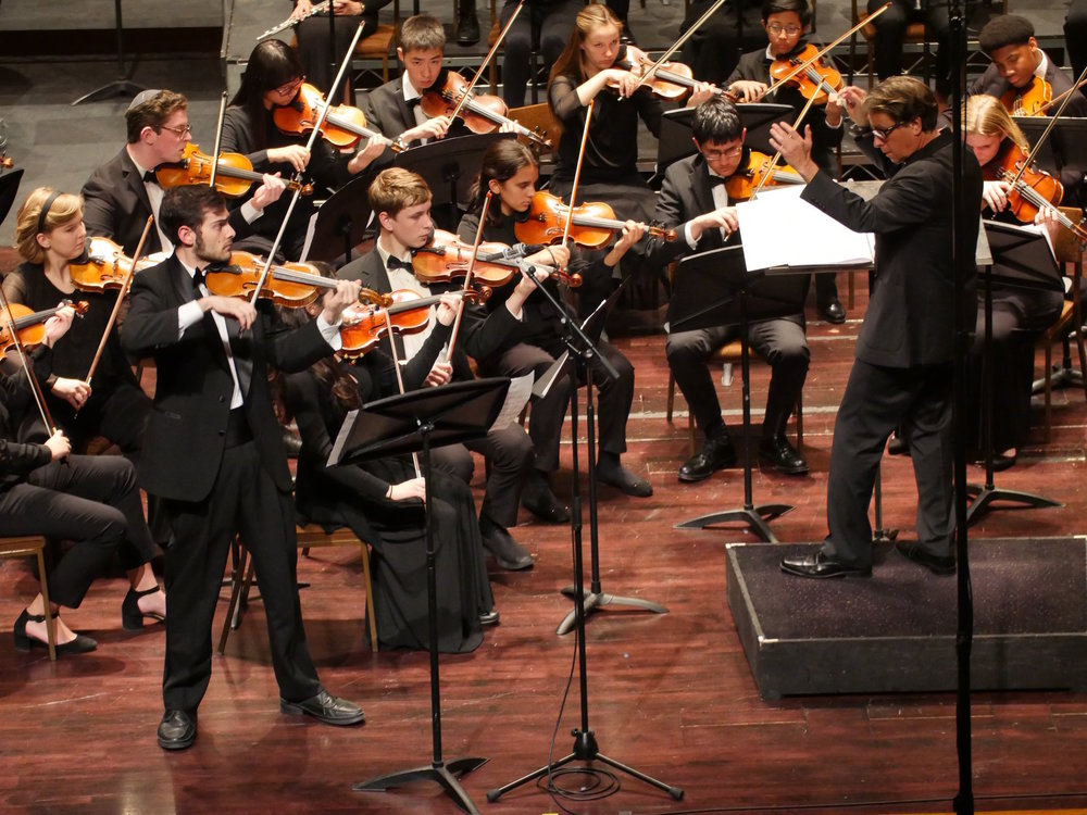 Alum violinist Max Karmazyn performing Tears of Kosovo with the Los Angeles Youth Orchestra