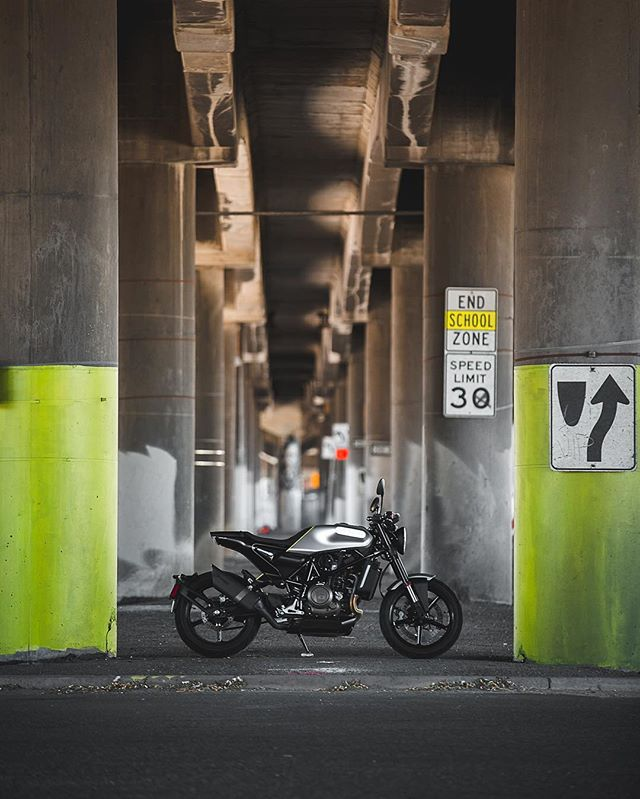 Spent a few minutes under the highway this morning. Empty shooters, broken glass, and the baddest bike in town! 🤘🏽#vitpilen701