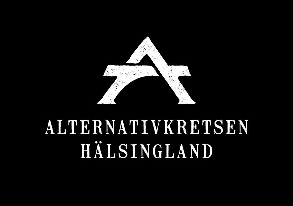Alternativkretsens nyalogotyp, vit på svart bakgrund