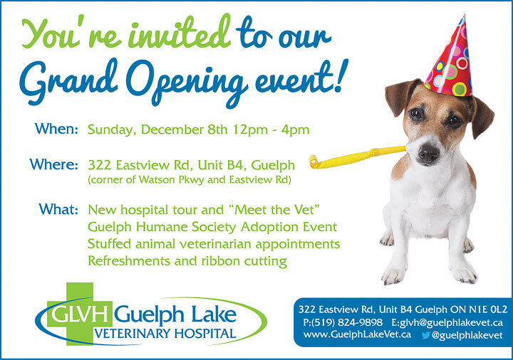 Grand Opening invitation Guelph Lake Veterinary Hospital Guelph