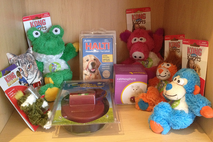 Catnip toys! Treats! Tough as nails Kong knots buddiesfor those dogs who like to chew and tug. Prices range from $5.00- $20.00 (+tax)