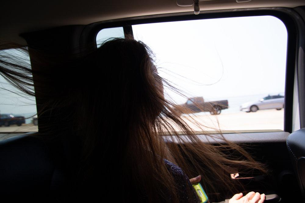 Danielle breathing in the ocean breeze.