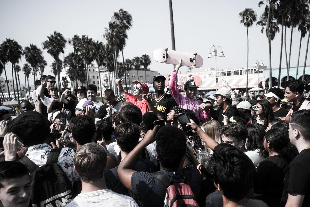 People shooting a rap video at Venice Beach, Ca