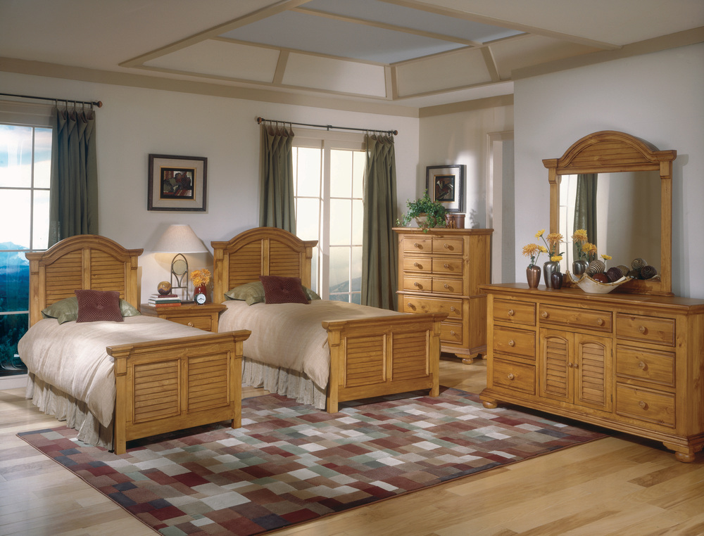 Twin beds are an option as well with optional dresser and mirror