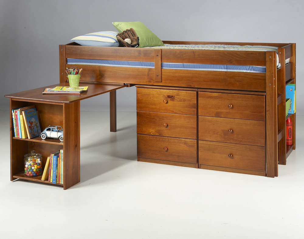 Mini-loft with slide-out desk and chest