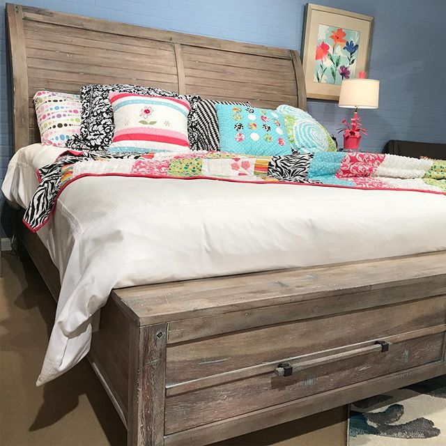 This rustic bedroom group with custom hardware pulls is a showroom stunner! #hpmkt #bedroomdecor #bedroom #artofthebedroom #interiordesign #interiordecor