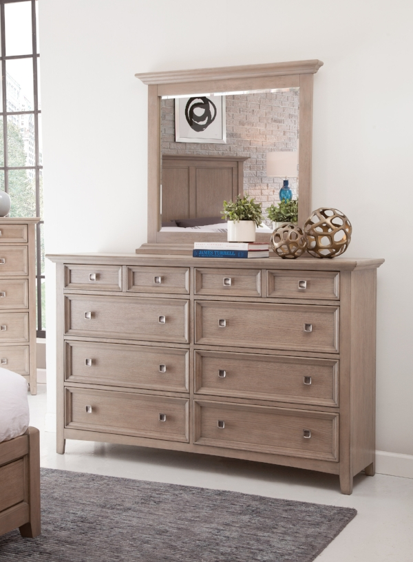 Mirror and eight drawer dresser