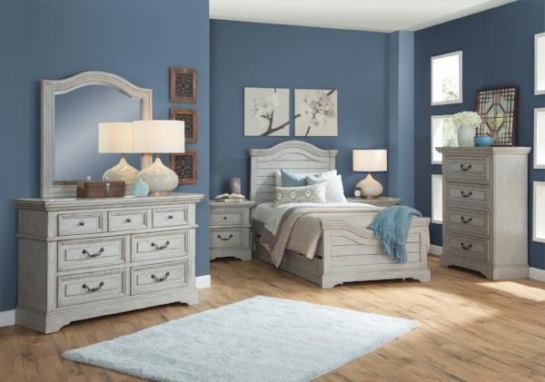 Mirror and eight drawer dresser