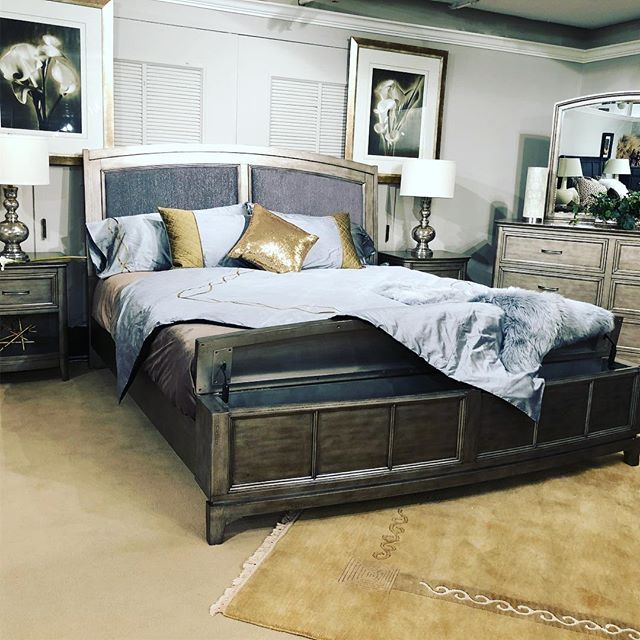 It shimmers! The upholstery on this headboard shines and shimmers. Come see it! #hpmkt #hpmkt2018 #artofthebedroom #bedroom #interiordecor
