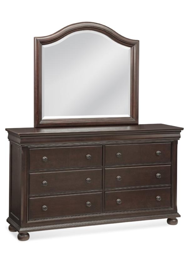 Mirror and six drawer dresser