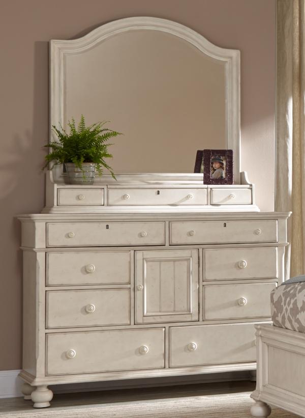 Eight Drawer, One Door Dresser and Mirror