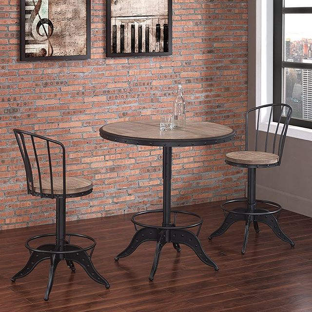 Great set! New bar stool and pub table with industrial design, adjustable height for both the pub table and #barstools #hpmkt #interiordesign