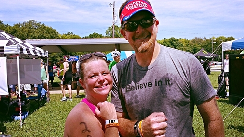"""""""I love my Believe in it® shirt! It's very soft and great to run in! Wearing my #Believeinit bracelet at the Rocketman I got a new personal best! I was pumped!"""" - Kent"""