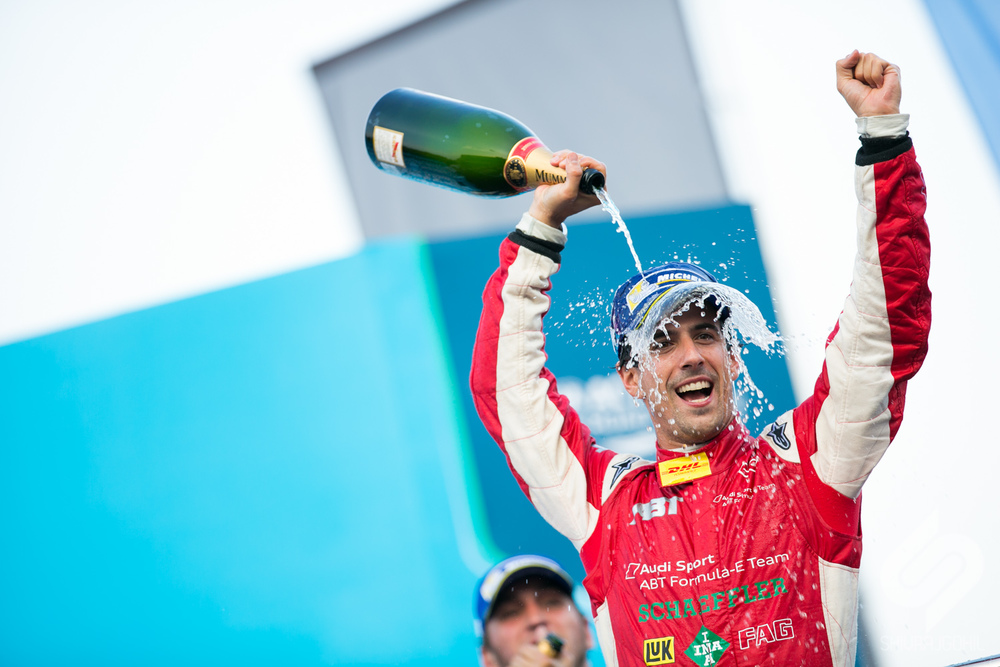 4.  Lucas Di Grassi celebrates a surprising win