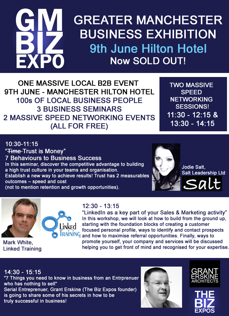 GMBizExpo 2015 - Hilton Hotel Deansgate Manchester. Tuesday 9th June 10am - 4pm.