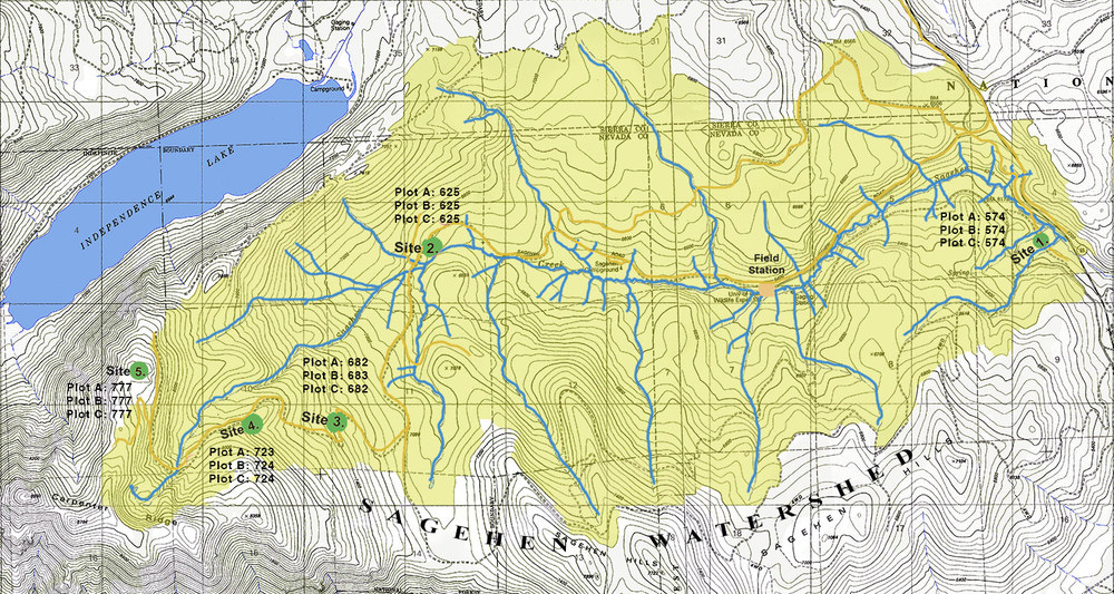 5 experimental stations in the Sagehen Watershed