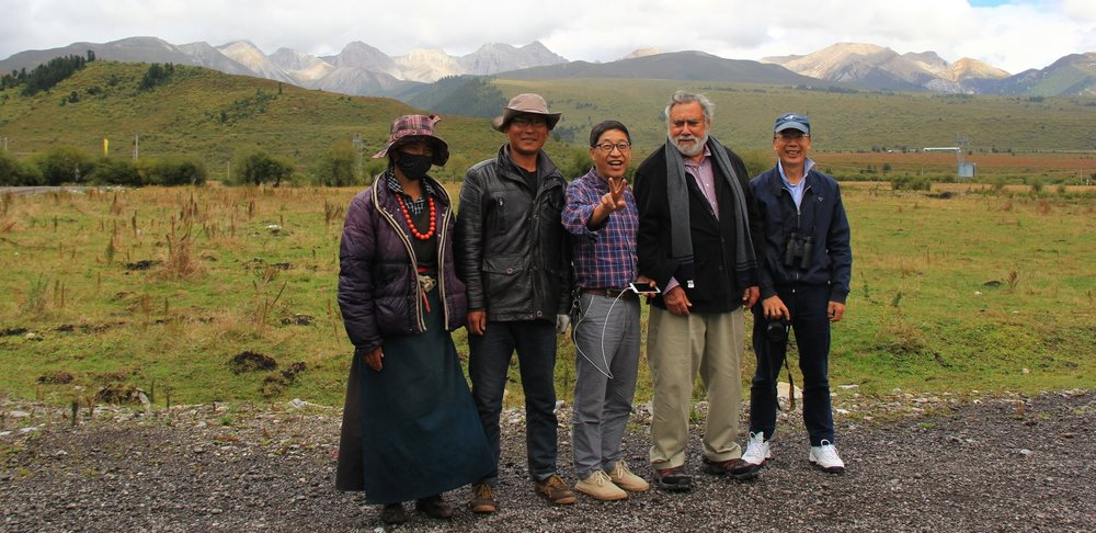 Newton Harrison and team on the Tibetan Plateau