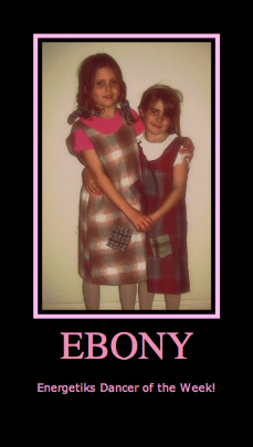 A young Ebony, left, with sister Courtney