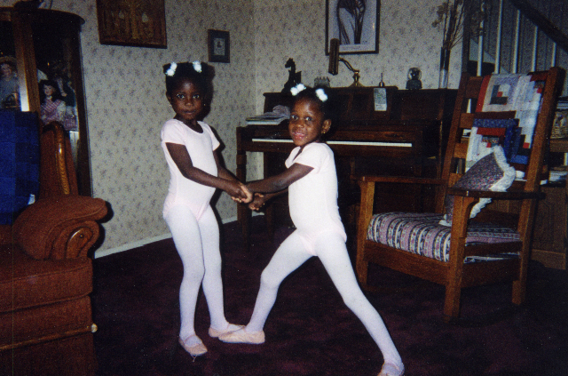 A young Michaela (right) and sister Mia all dressed for ballet!