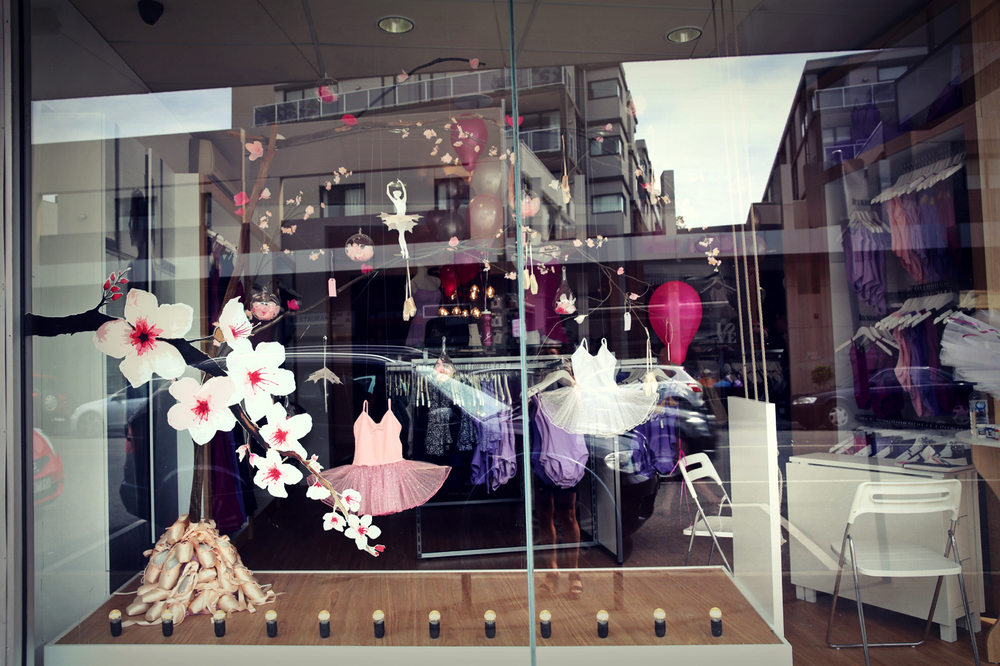 Ta da! Our Cherry blossom-themed Ivanhoe store window, complete with tutus, snowflake ballerinas, miniature blossom pointe shoes, big pointe shoes... and cherry blossoms of course!