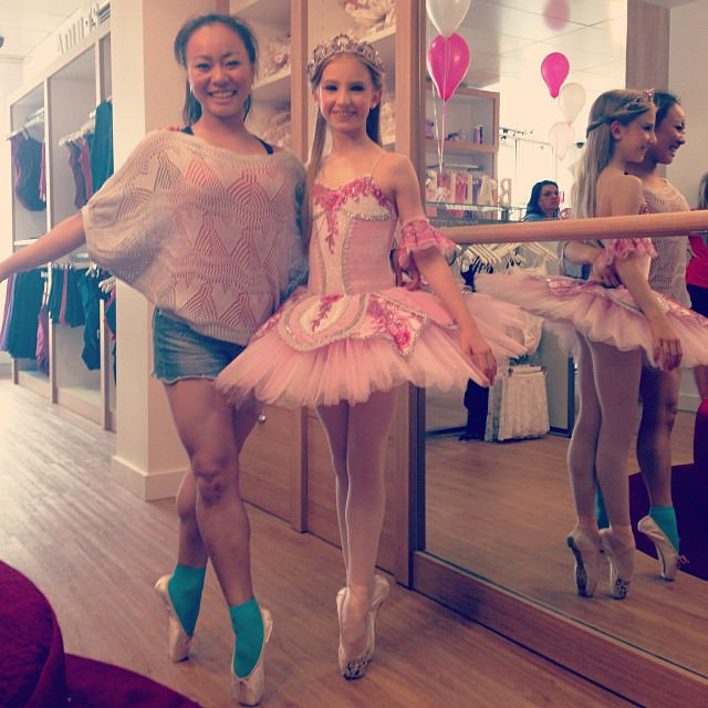 Blossom and one of our lovely customers getting fitted for some Energetiks pointe shoes!