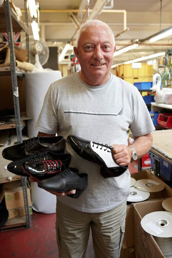 """Jimmy Fenn, Designer & Pattern Cutter with some recent designs - """"I've been in the trade thirty-five years. My job is fantastic because you never know what you are going to come in to in the morning. You can never get bored because you can always design a shoe. And when you spot them on television it's really exciting."""""""