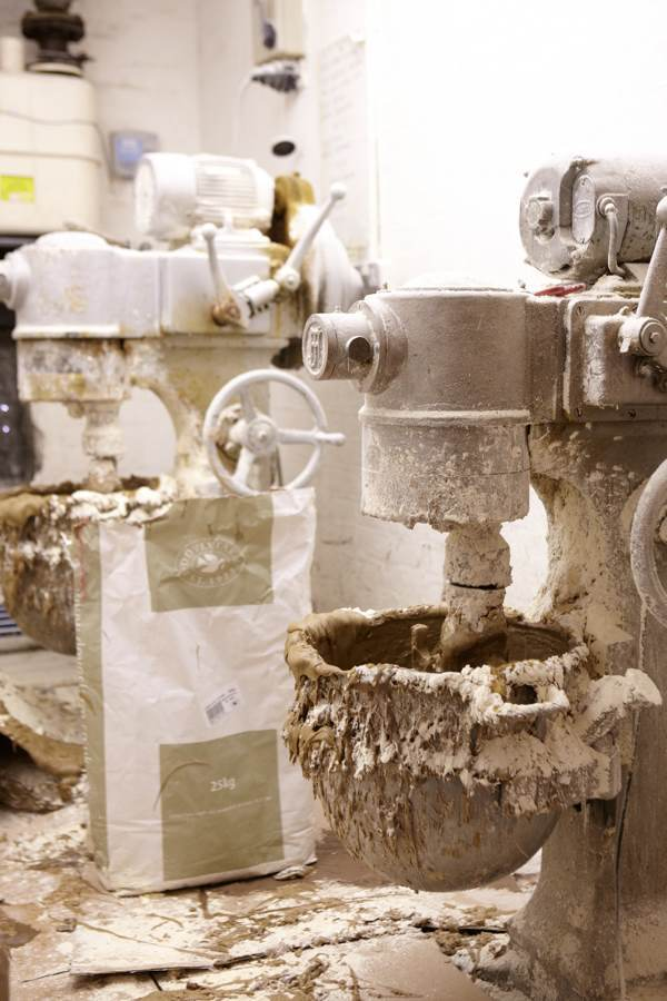 Once a week, flour and water is mixed to make the paste used to create the blocks for pointe shoes. A little insecticide is included in the blend to prevent weevils eating the shoes.