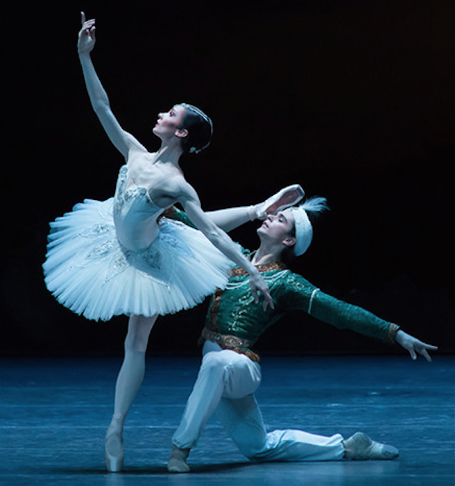 Performing La Bayadere with István Simon.   Photo: Ian Whalen,  courtesy of the Semperoper Ballet