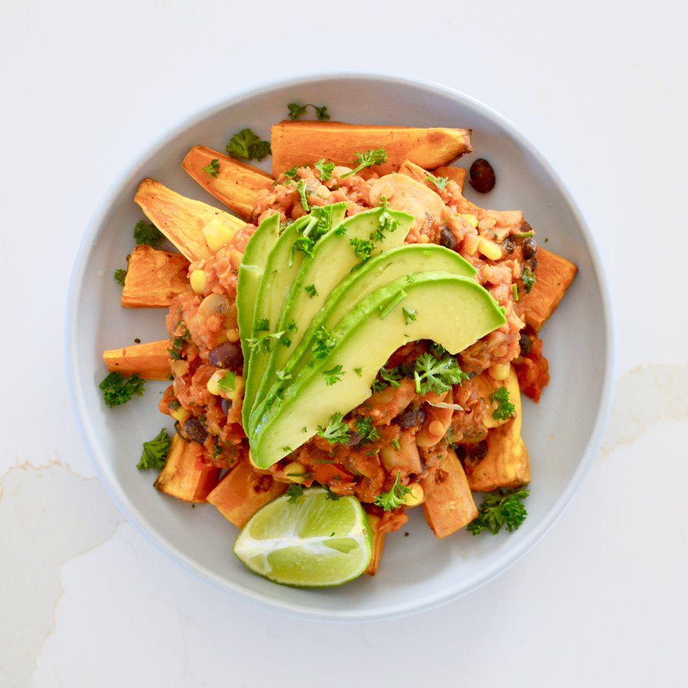 Ballerina Bites: Tex-Mex Lentils with Sweet Potato Wedges