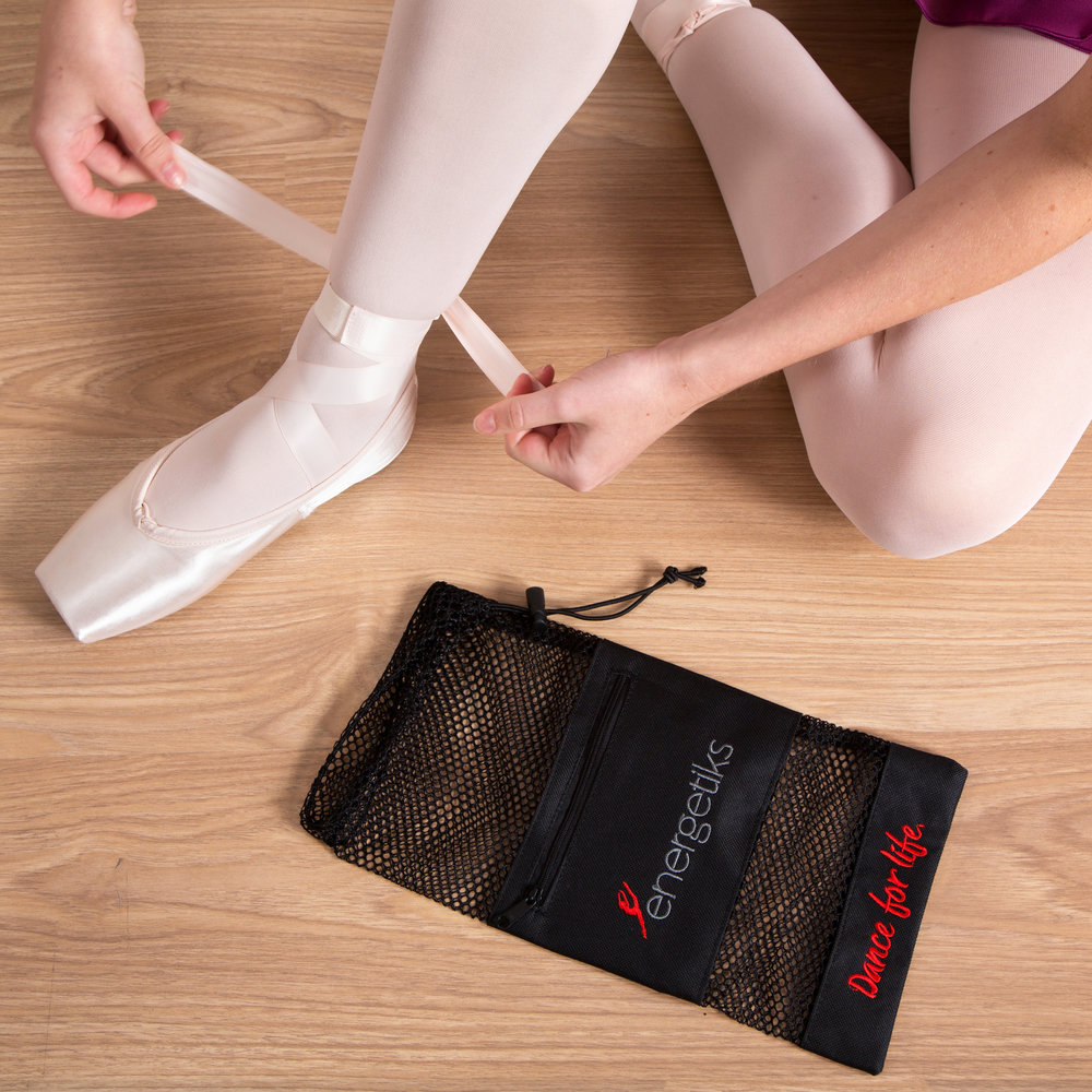 Keep everything portable and ready to go in our Mesh Pointe Shoe Bags!