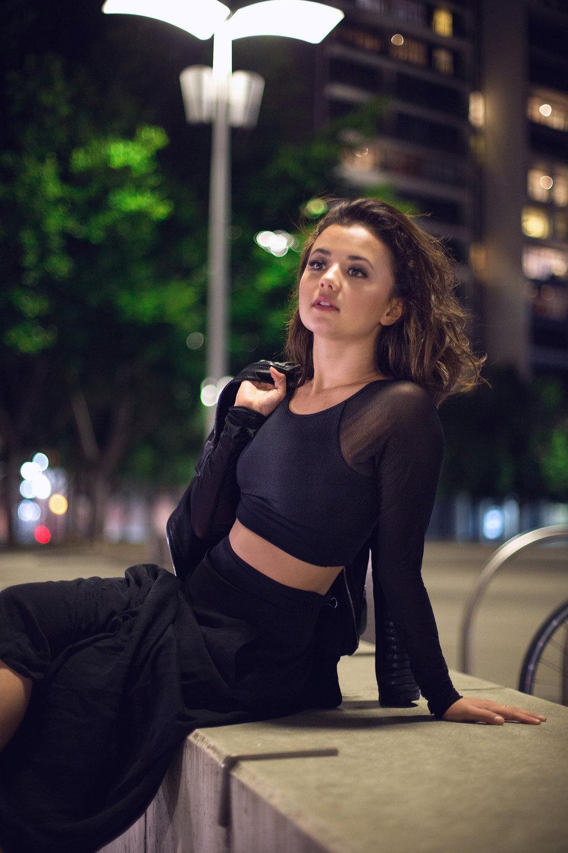 Chanel wear the Energetiks Astrid Long Sleeve Crop in Black